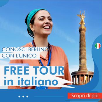 Banner pubblicitario del Free Tour di Berlino in italiano.