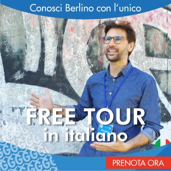 Banner pubblicitario del Freetour - tour gratis di Berlino.