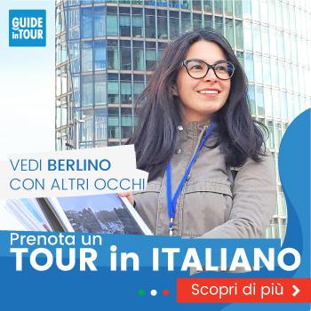 Banner pubblicitario di una guida italiana durante un tour di Berlino.