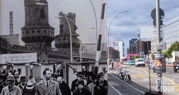 Berlino dell'over passato dal ponte Oberbaumbrücke di Berlino durante la Guerra Fredda.