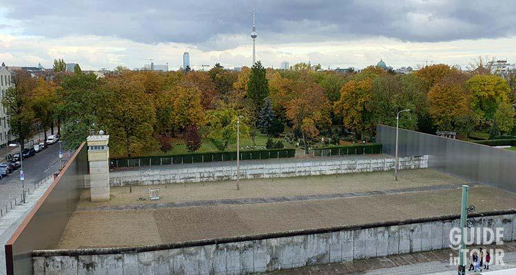Foto aerea del Memoriale del Muro di Berlino.