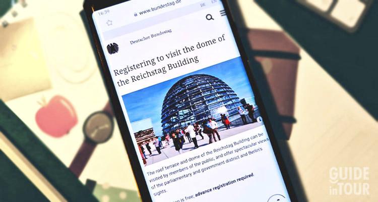 Schermata per la prenotazione online della visita gratuita alla cupola del parlamento tedesco - Reichstag - Bundestag - a Berlino.