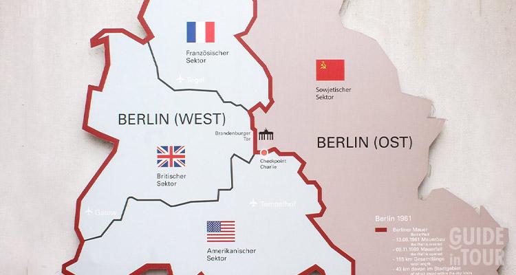 Mappa della divisone di Berlino Est nel 1945.